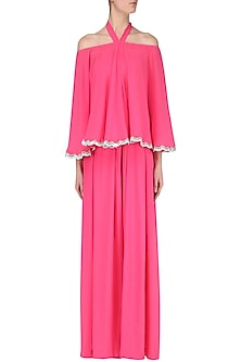 Fuschia Off Shoulder Jumpsuit by Japnit Ahluwalia
