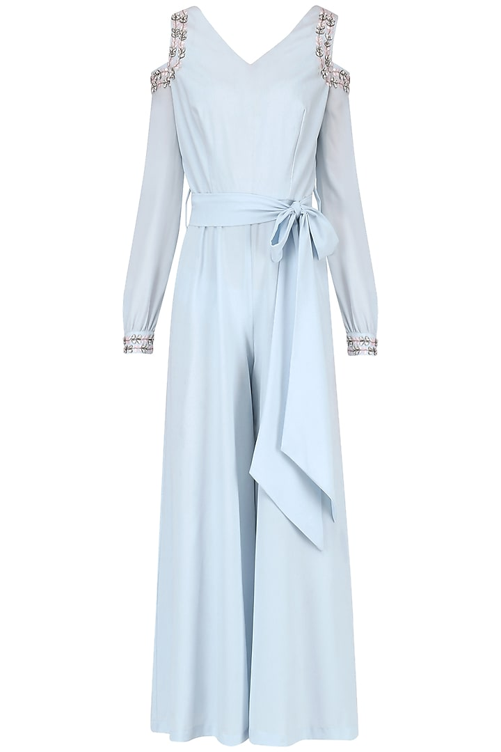 Powder Blue Embroidered Jumpsuit by Japnit Ahluwalia