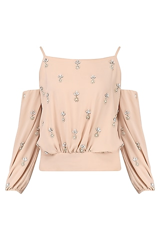 Beige Embroidered Top by Japnit Ahluwalia