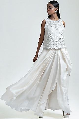 White Embroidered Skirt Set by Jyoti Sachdev Iyer