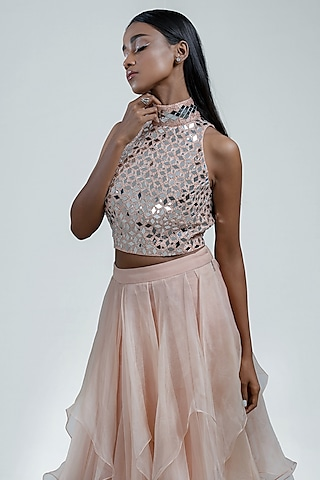 Peach Embroidered Skirt Set by Jyoti Sachdev Iyer