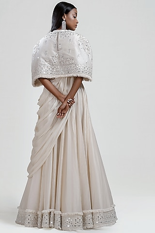 White Embroidered Draped Saree With Cape by Jyoti Sachdev Iyer