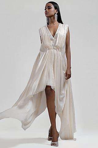 White Draped Dress by Jyoti Sachdev Iyer