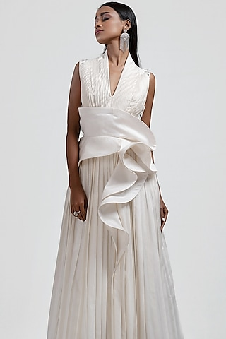 White Embroidered Pleated Gown by Jyoti Sachdev Iyer