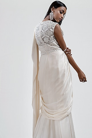 White Embroidered Draped Saree by Jyoti Sachdev Iyer