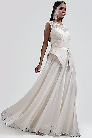 White Embroidered Pleated Dress by Jyoti Sachdev Iyer