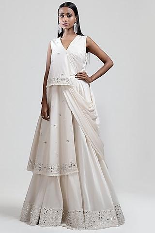 White Embroidered Draped Anarkali by Jyoti Sachdev Iyer