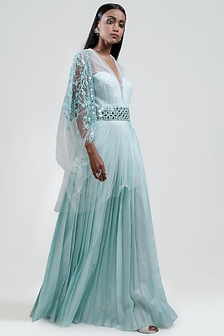Ice Blue Embroidered Pleated Dress by Jyoti Sachdev Iyer