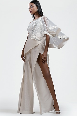White Embroidered Off Shoulder Jumpsuit by Jyoti Sachdev Iyer