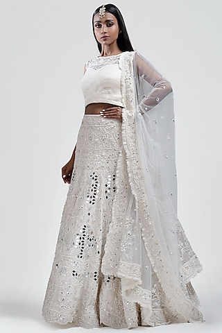 White Embroidered Lehenga Set by Jyoti Sachdev Iyer