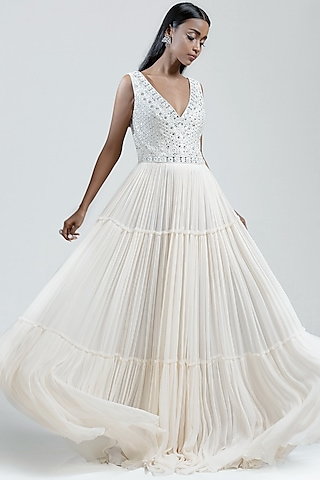 White Tiered Embroidered Dress by Jyoti Sachdev Iyer