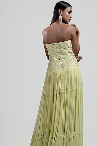 Lime Yellow Tiered Embroidered Dress by Jyoti Sachdev Iyer