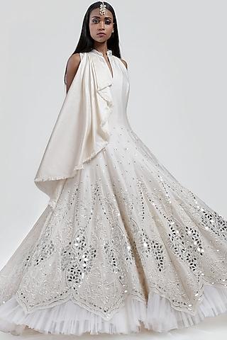 White Embroidered Anarkali by Jyoti Sachdev Iyer