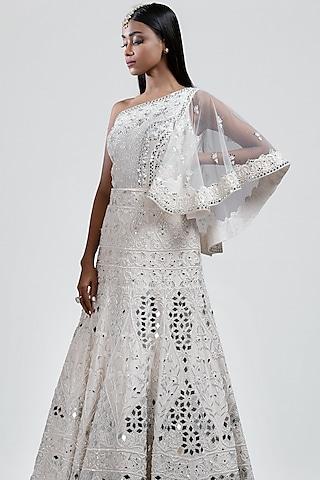 White Embellished Lehenga With Cape by Jyoti Sachdev Iyer