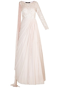 Nude Embellished Draped Gown by Jyoti Sachdev Iyer