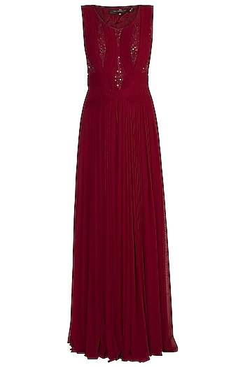 Marsala Embroidered Draped Gown by Jyoti Sachdev Iyer