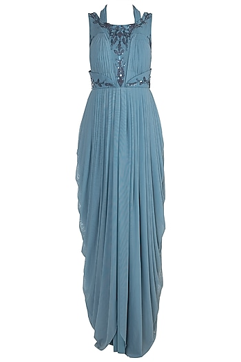 Soft Blue Embroidered Draped Gown by Jyoti Sachdev Iyer