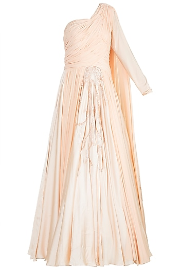 Peach Embroidered One Shoulder Gown by Jyoti Sachdev Iyer