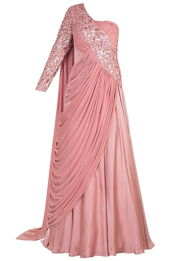 Old Rose Embroidered One Shoulder Gown by Jyoti Sachdev Iyer