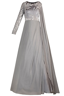 Grey Embroidered Draped Gown by Jyoti Sachdev Iyer