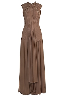 Brown Embroidered Draped Gown by Jyoti Sachdev Iyer