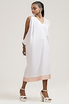White Draped Dress With Sequins Embroidery by Jyoti Sachdev Iyer