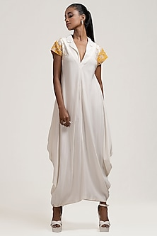 Ivory Sequins Embroidered Dress by Jyoti Sachdev Iyer