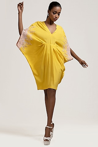 Yellow Sequins Embroidered Dress by Jyoti Sachdev Iyer