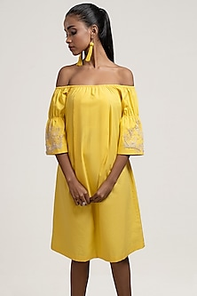 Yellow Embroidered Mini Dress by Jyoti Sachdev Iyer