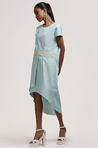 Turquoise Embroidered Overlap Dress by Jyoti Sachdev Iyer