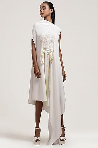 Ivory Asymmetric Embroidered Dress by Jyoti Sachdev Iyer