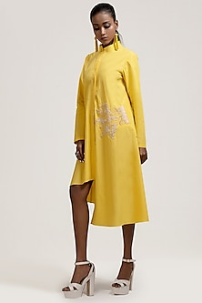 Yellow Thread Embroidered Dress by Jyoti Sachdev Iyer