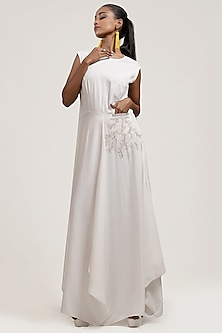 White Draped & Embroidered Dress by Jyoti Sachdev Iyer