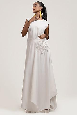 White Draped & Embroidered Dress by Jyoti Sachdev Iyer