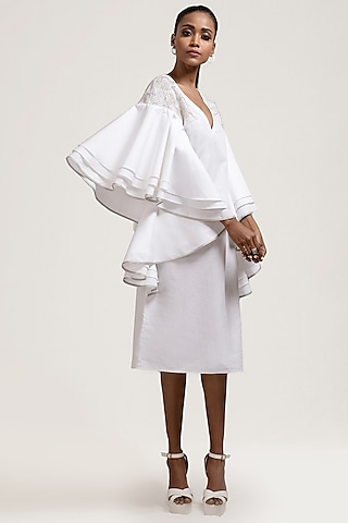 White Embroidered Dress With Layered Sleeves by Jyoti Sachdev Iyer