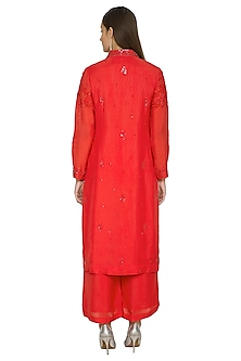 Red Embroidered Kurta Set by Jyoti Sachdev Iyer