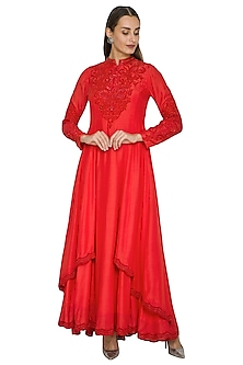 Red Embroidered Anarkali With Pants by Jyoti Sachdev Iyer
