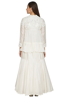 Off White Embroidered Tiered Gown by Jyoti Sachdev Iyer