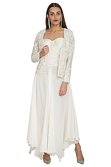 White Embroidered Corset Top With Pants & Jacket by Jyoti Sachdev Iyer