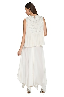 White Embroidered Flared Top by Jyoti Sachdev Iyer