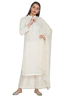 White Embroidered Kurta Set by Jyoti Sachdev Iyer