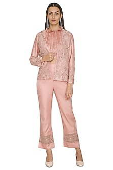 Blush Pink Embroidered Jacket WIth Top & Pants by Jyoti Sachdev Iyer