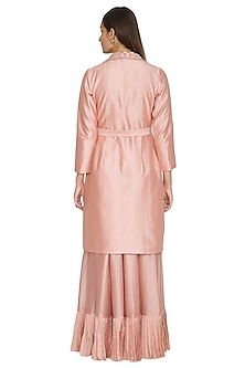 Blush Pink Embroidered Overcoat by Jyoti Sachdev Iyer