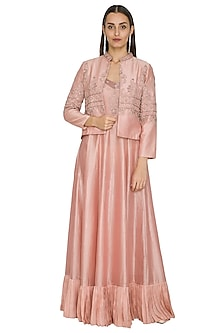 Blush Pink Embroidered Dress With Jacket by Jyoti Sachdev Iyer