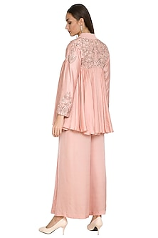 Blush Pink Embroidered Flared Top With Pants by Jyoti Sachdev Iyer