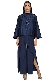 Blue Sequins Embroidered Cape by Jyoti Sachdev Iyer