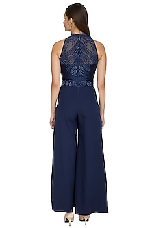 Blue Sequins Embroidered Jumpsuit by Jyoti Sachdev Iyer