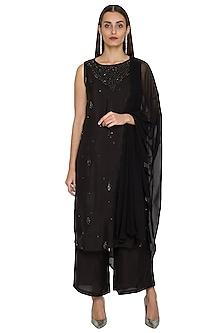Black Sequins Embroidered Kurta Set by Jyoti Sachdev Iyer