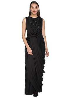 Black Sequins Embroidered Draped Dress by Jyoti Sachdev Iyer