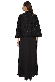 Black Dress With Embroidered Cape by Jyoti Sachdev Iyer